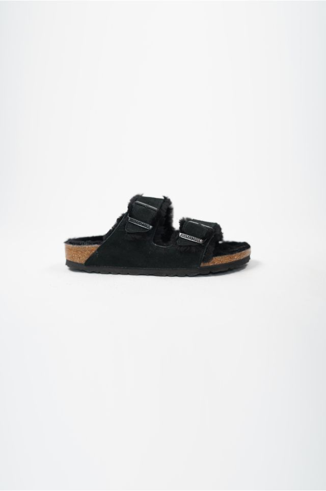 Birkenstock Sandali ARIZONA BLACK/BLACK, SUEDE LEATHER/SHEEPSKIN